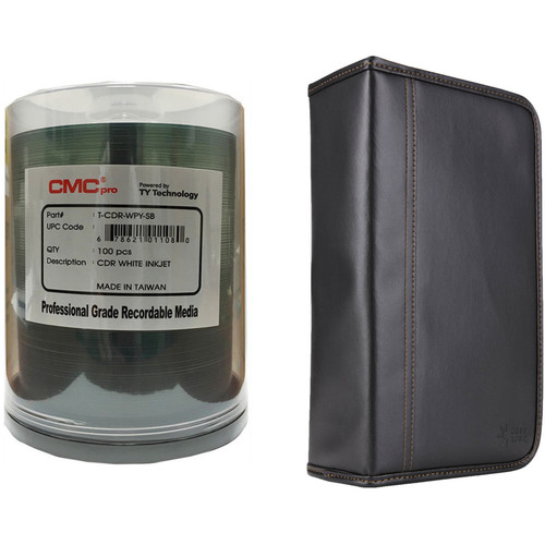 CMC Pro 700MB CD-R 48x Inkjet-Printable Disc Kit with 100-Capacity Disc Wallet