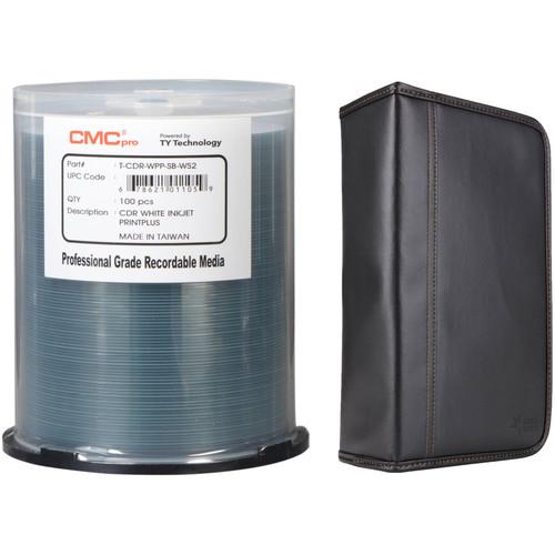 CMC Pro 700MB CD-R 48x PrintPlus White Matte Printable Disc Kit with 100-Capacity Disc Wallet