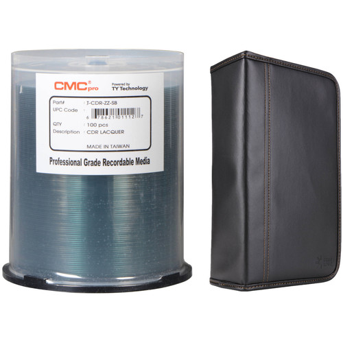 CMC Pro 700MB CD-R 48x Shiny Silver Lacquer Disc Kit with 100-Capacity Disc Wallet