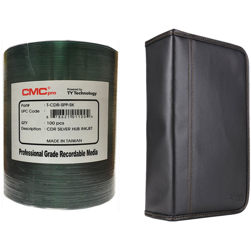 CMC Pro 700MB CD-R 48x Silver Hub Inkjet Printable Disc Kit with 100-Capacity Disc Wallet