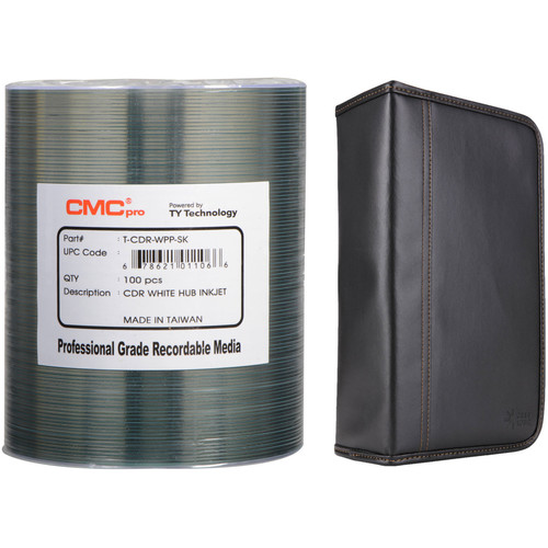 CMC Pro 700MB CD-R 48x White Inkjet Hub Printable Disc Kit with 100-Capacity Disc Wallet