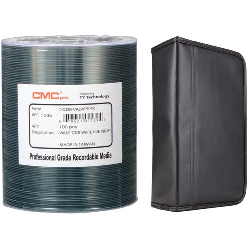 CMC Pro 700MB CD-R 52x White Valueline Inkjet Hub Printable Disc Kit with 100-Capacity Disc Wallet
