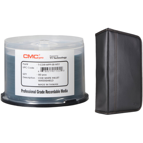 CMC Pro 700MB CD-R 52x White Water Shield Inkjet Hub Printable Disc Kit with Disc Wallet