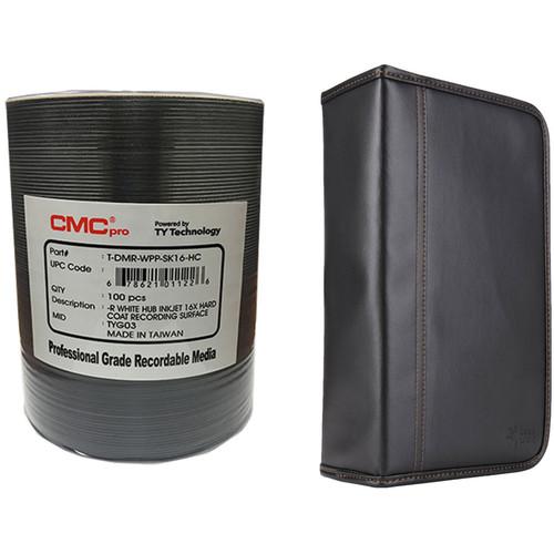 CMC Pro DVD-R 4.7GB 16x HardCoat Inkjet Printable Disc Kit with 100-Capacity Disc Wallet