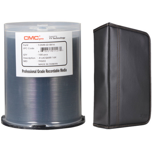 CMC Pro DVD-R 4.7GB 16x Shiny Silver Lacquer Disc Kit with 100-Capacity Disc Wallet