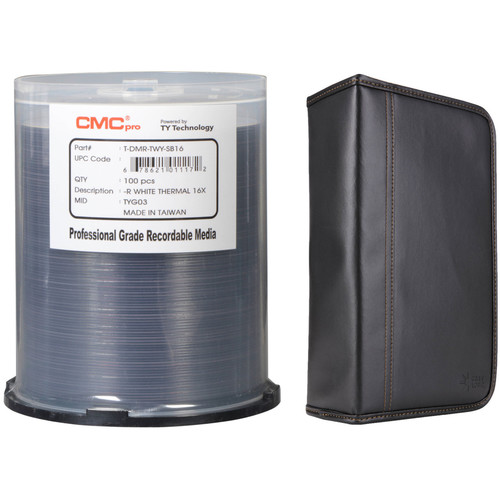 CMC Pro DVD-R 4.7GB 16x White Thermal Printable Disc Kit with 100-Capacity Disc Wallet