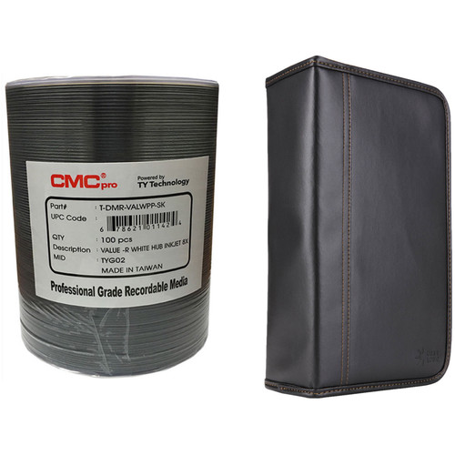 CMC Pro DVD-R 4.7GB 8x Value Inkjet Printable Disc Kit with 100-Capacity Disc Wallet