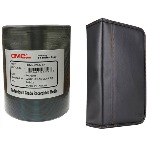 CMC Pro DVD-R 4.7GB 8x Value Shiny Silver Lacquer Disc Kit with 100-Capacity Disc Wallet