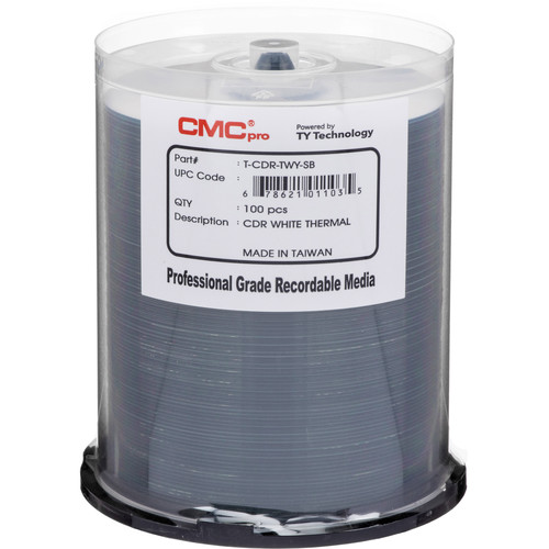 CMC Pro 700MB White Thermal Printable Disc (Prism 100-Pack Spindle)