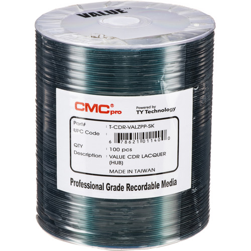 CMC Pro Valueline 700MB CD-R Silver Thermal Lacquer Hub-Printable 52x Discs (100-Pack)