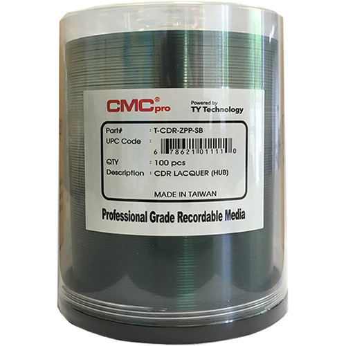 CMC Pro CD-R 700MB 48x Shiny Silver Lacquer Hub-Printable Discs (Spindle Pack of 100)