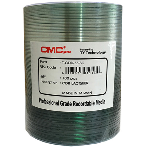 CMC Pro CD-R 700MB 48x Shiny Silver Lacquer Printable Discs (100-Pack)