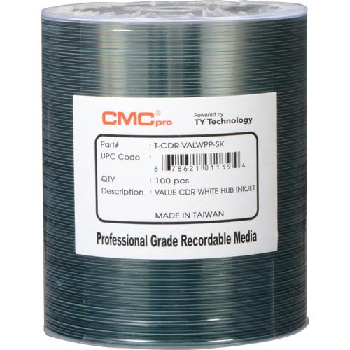 CMC Pro CD-R 52x White Valueline Inkjet Hub Printable Disc (100-Pack, Tape Wrap)