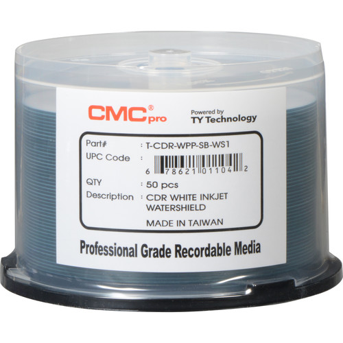 CMC Pro CD-R 52x White Water Shield Inkjet Hub Printable Disc (50-Pack)