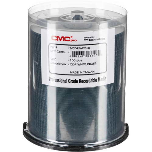CMC Pro 700MB CD-R Inkjet-Printable 48x Discs (100-Disc Cakebox)