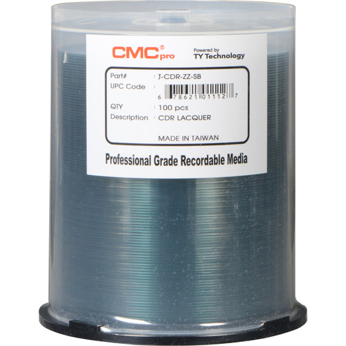 CMC Pro 700MB CD-R 48x Shiny Silver Lacquer Discs (100-Pack Cakebox)