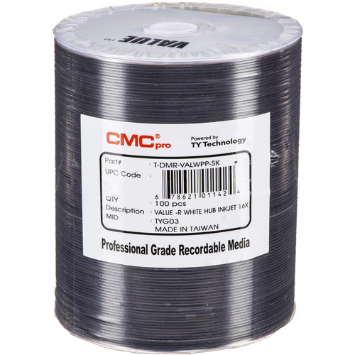CMC Pro DVD-R 4.7GB 8x Value Inkjet Printable Discs (100-Pack)