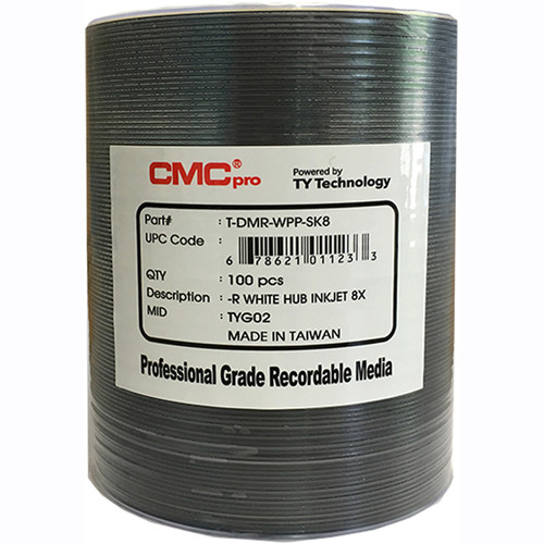 CMC Pro 4.7GB DVD-R White Inkjet 8x Discs (100-Pack, Tape Wrap)