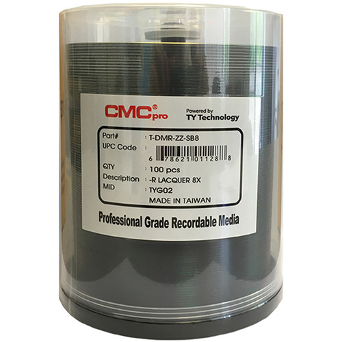 CMC Pro DVD-R 4.7GB 8x Shiny Silver Lacquer Printable Discs (Spindle Pack of 100)