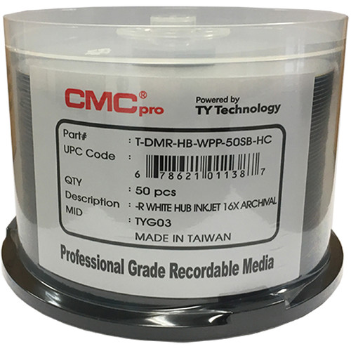 CMC Pro Archival DVD-R 4.7GB 16x Dual Silver Alloy/Gold-Silver Alloy with Reflective Layer Inkjet Hub-Printable Disc (50-Pack Cake Box)
