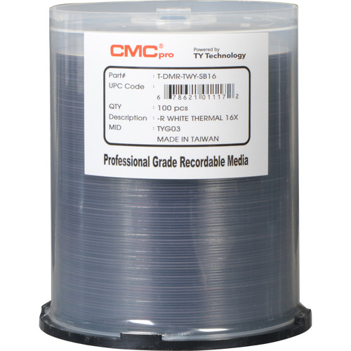 CMC Pro 4.7GB DVD-R 16x White Thermal Printable Disc (100-Pack)