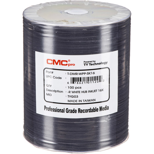 CMC Pro DVD-R 4.7GB White Inkjet Hub Printable Disc (100-Pack Tape Wrap)