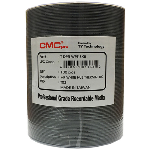 CMC Pro DVD+R 4.7GB 8x White Everest Thermal Hub-Printable Discs (100-Pack)