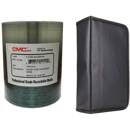 CMC Pro Valueline 700MB CD-R Silver Thermal Lacquer Hub-Printable 52x Disc Kit with 100-Capacity Disc Wallet