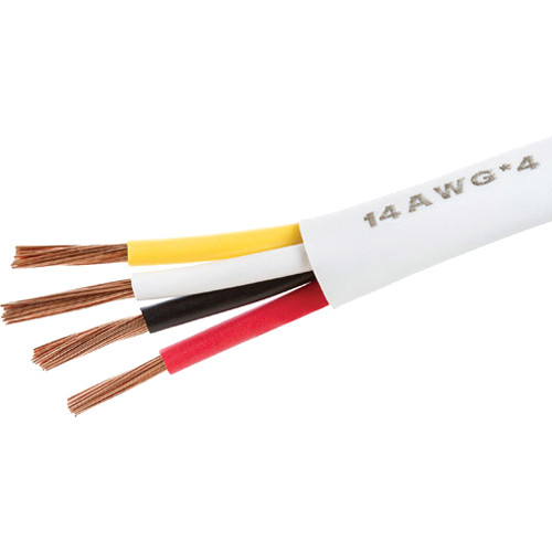 Cmple 14 AWG CL2 Rated 4-Conductor Loud Speaker Cable for In Wall Installation (White, 100')