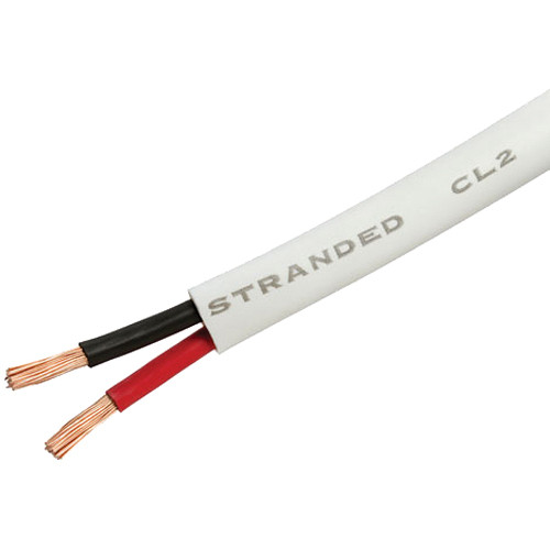 Cmple 12 AWG CL2 Rated 2-Conductor Loud Speaker Cable for In Wall Installation (White, 50')