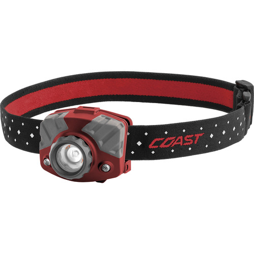 COAST FL75R Dual-Color Pure Beam Focusing Rechargeable LED Headlamp (Red/Gray)