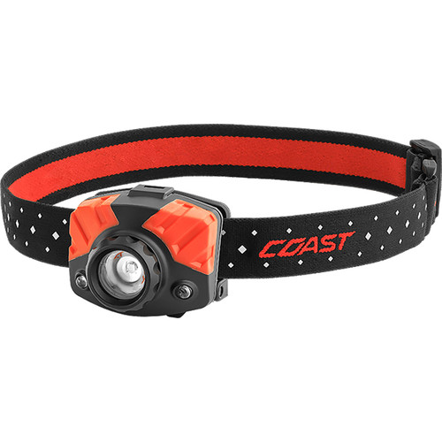 COAST FL75R Dual-Color Pure Beam Focusing Rechargeable LED Headlamp (Black/Red, Clamshell Packaging)