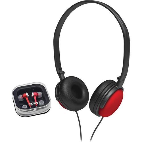Coby 2-in-1 Combo DJ Style Stereo Headphones & Earphones (Red)