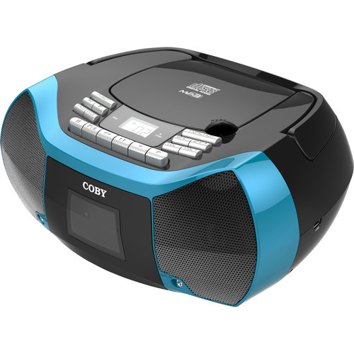 Coby MPCD-102 CD-R Cassette Radio Player and Recorder with MP3 and USB (Blue)