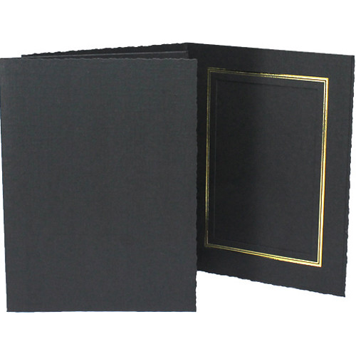 "Collector's Gallery Classic Black Folder with Gold Foil Window Border (Vertical 4 x 5"" Print, 25-Pack)"