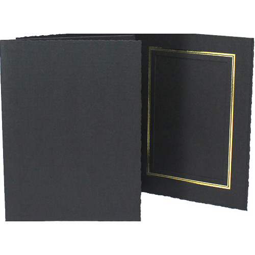 "Collector's Gallery Classic Black Folder with Gold Foil Window Border (Vertical 4 x 6"" Print, 25-Pack)"