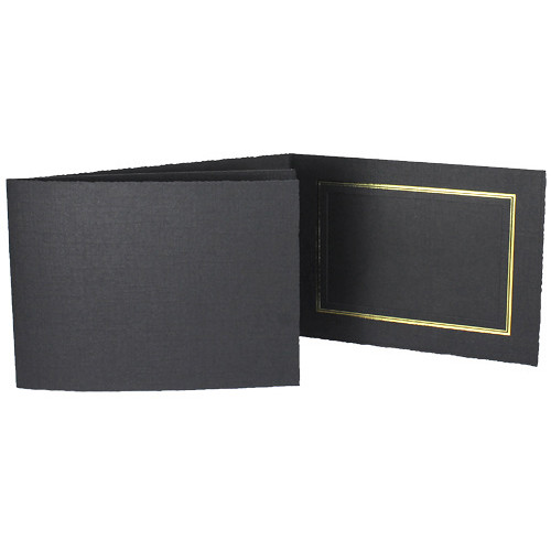 """Collector's Gallery Classic Black Folder with Gold Foil Window Border (Horizontal 6 x 4"""" Print, 25-Pack)"""