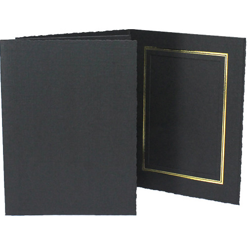 """Collector's Gallery Classic Black Folder with Gold Foil Window Border (Vertical 8 x 10"""" Print, 25-Pack)"""