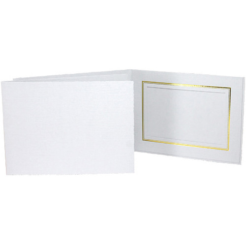 "Collector's Gallery Classic White Folder with Gold Foil Window Border (Horizontal 10 x 8"" Print, 25-Pack)"