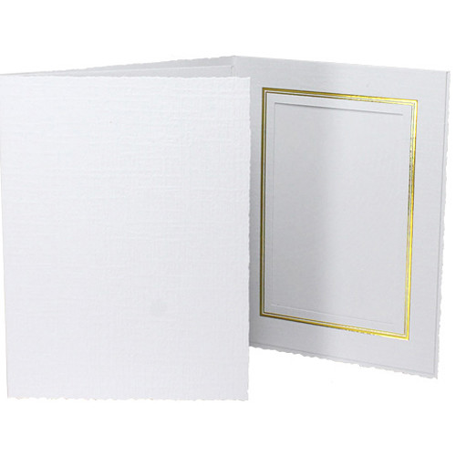 "Collector's Gallery Classic White Folder with Gold Foil Window Border (Vertical 4 x 5"" Print, 25-Pack)"