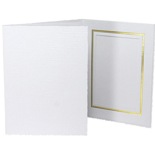 "Collector's Gallery Classic White Folder with Gold Foil Window Border (Vertical 4 x 6"" Print, 25-Pack)"