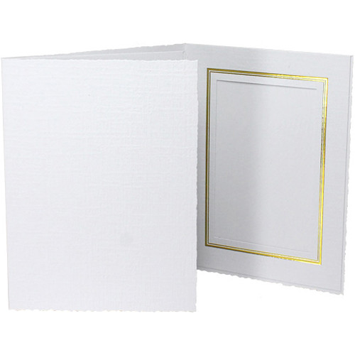 "Collector's Gallery Classic White Folder with Gold Foil Window Border (Vertical 5 x 7"" Print, 25-Pack)"