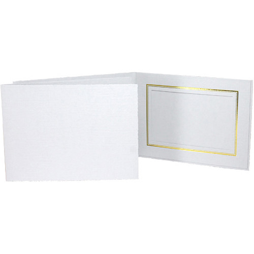 "Collector's Gallery Classic White Folder with Gold Foil Window Border (Horizontal 6 x 4"" Print, 25-Pack)"