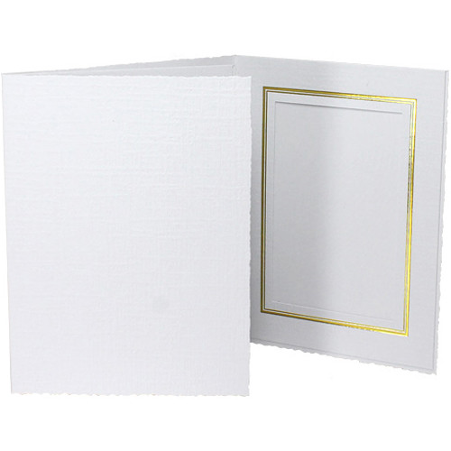 "Collector's Gallery Classic White Folder with Gold Foil Window Border (Vertical 6 x 8"" Print, 25-Pack)"