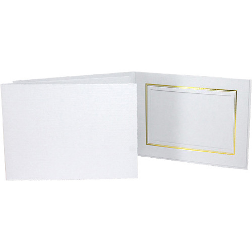 "Collector's Gallery Classic White Folder with Gold Foil Window Border (Horizontal 7 x 5"" Print, 25-Pack)"