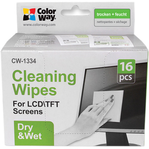 ColorWay Wet/Dry Microfiber Cleaning Wipes for Screens (16 Individually-Wrapped Pieces)