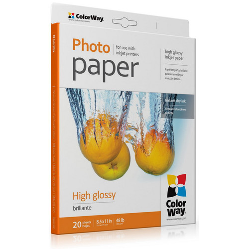 "ColorWay High Gloss Photo Paper (8.5 x 11"", 20 Sheets, 180 gsm)"