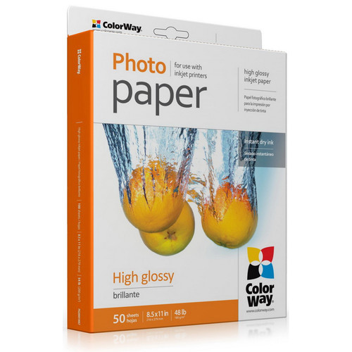 "ColorWay High Gloss Photo Paper (8.5 x 11"", 100 Sheets, 180 gsm)"