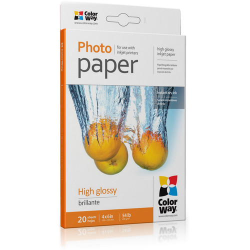 """ColorWay High Gloss Photo Paper (4 x 6"""", 20 Sheets, 200 gsm)"""