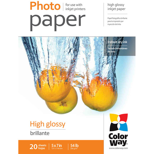"ColorWay High Gloss Photo Paper (5 x 7"", 20 Sheets, 200 gsm)"